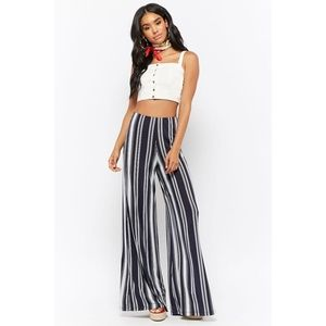 Diosa Navy & White Striped Palazzo Pants